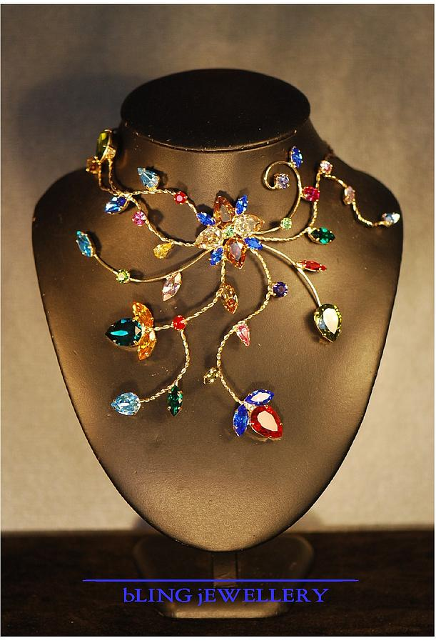 Necklace Jewelry - Reduced - Twisted Wire Multi-coloured Crystal Necklace No 3 by Janine Antulov