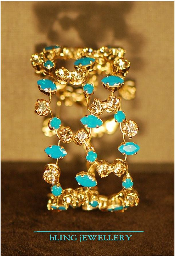 Wire Bracelet Jewelry - Reduced Caribbean Blue Opal And Golden Shadow Crystal 3 Row Wire Bracelet by Janine Antulov
