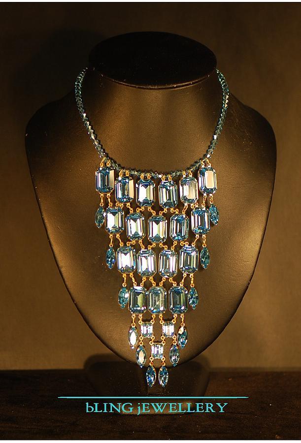 Bib Necklace Jewelry - Reduced Large Aquamarine Crystal Bib Necklace by Janine Antulov