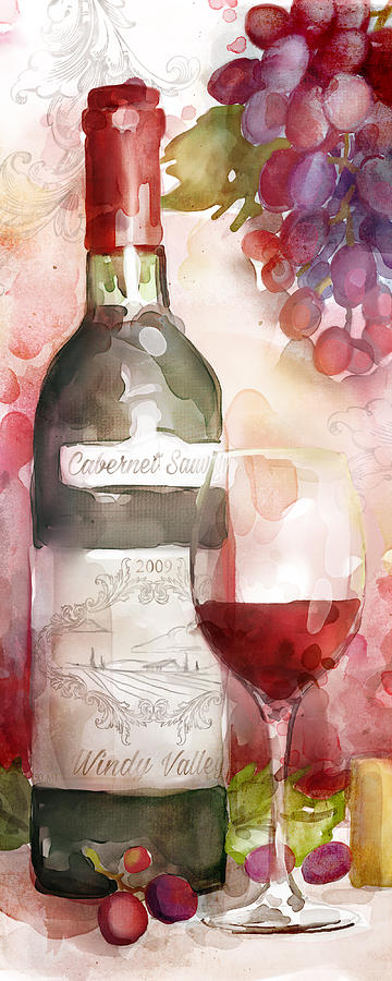 Red Wine Painting - Redwinewatercolor by Mauro DeVereaux