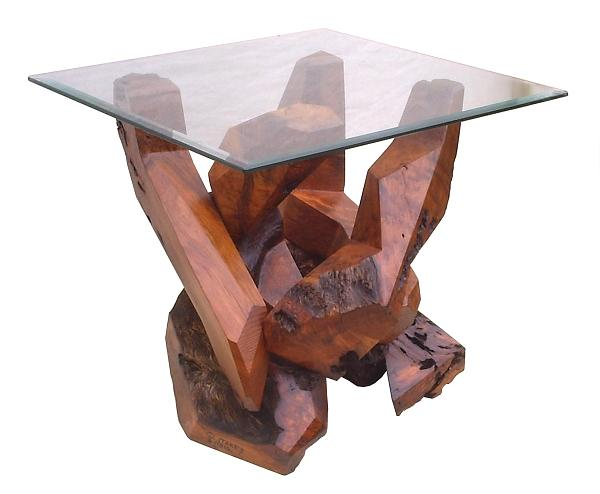 Glass Top Tables Sculpture - Redwood Glass Top Accent Table 17810 by Daryl Stokes