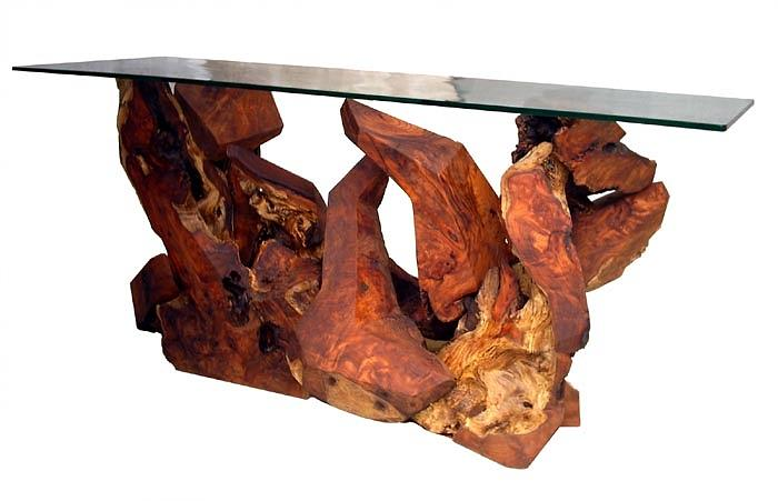 Glass Top Tables Sculpture - Redwood Glass Top Console Table by Daryl Stokes