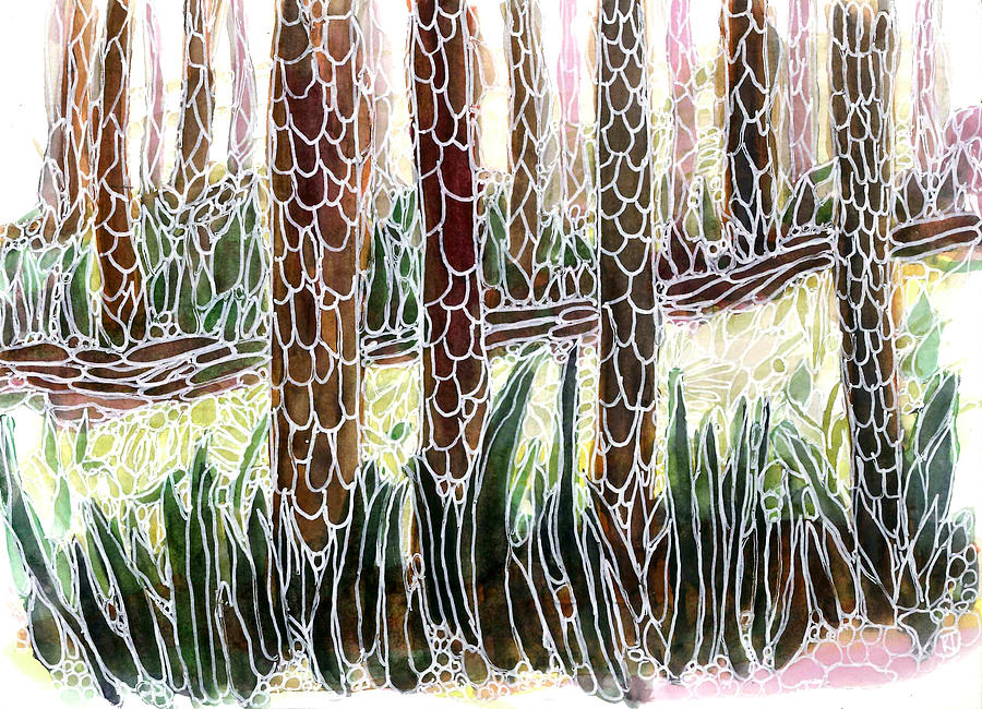 Forest Painting - Redwoods on the Path by Katie Ree