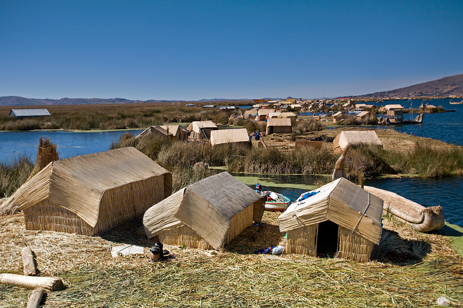 Reed Houses At Uros Islands Photograph