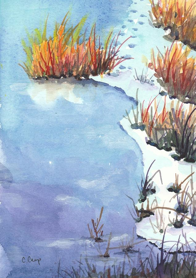 Winter Landscape Painting - Reeds Frozen In Time by Christine Camp