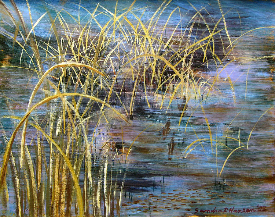 Reeds Painting - Reeds In The Water by Art Nomad Sandra  Hansen
