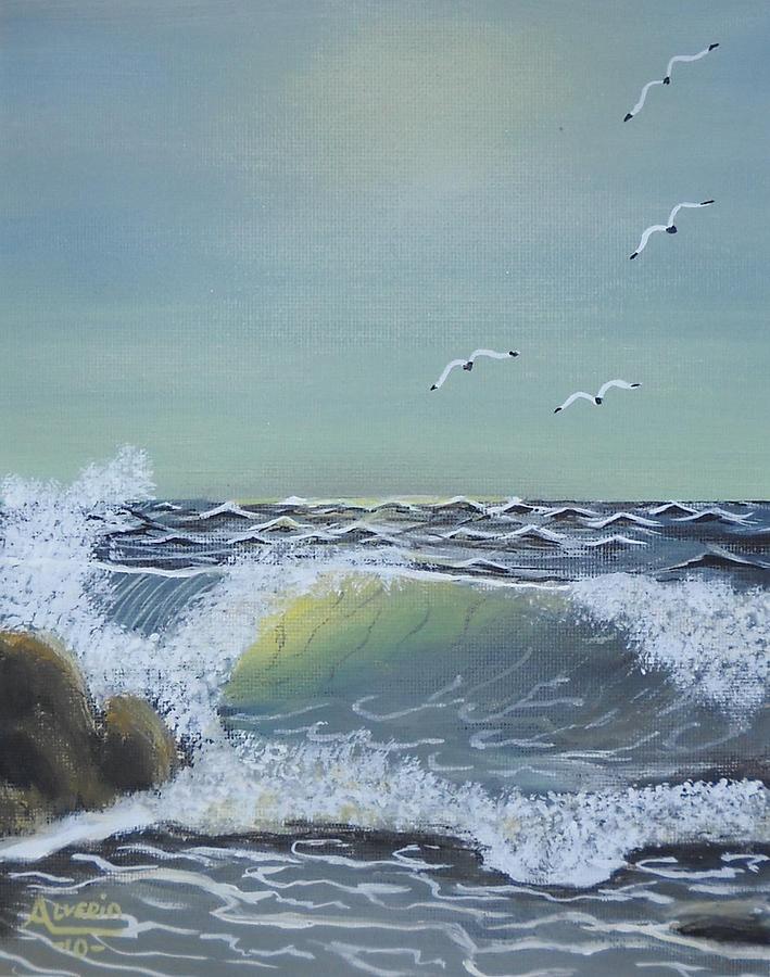 Seascape Painting - Reef Break by Edwin Alverio