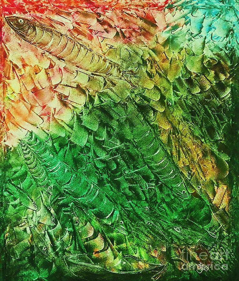 Deep Sea Fish Painting - Reef by Iris  Mora