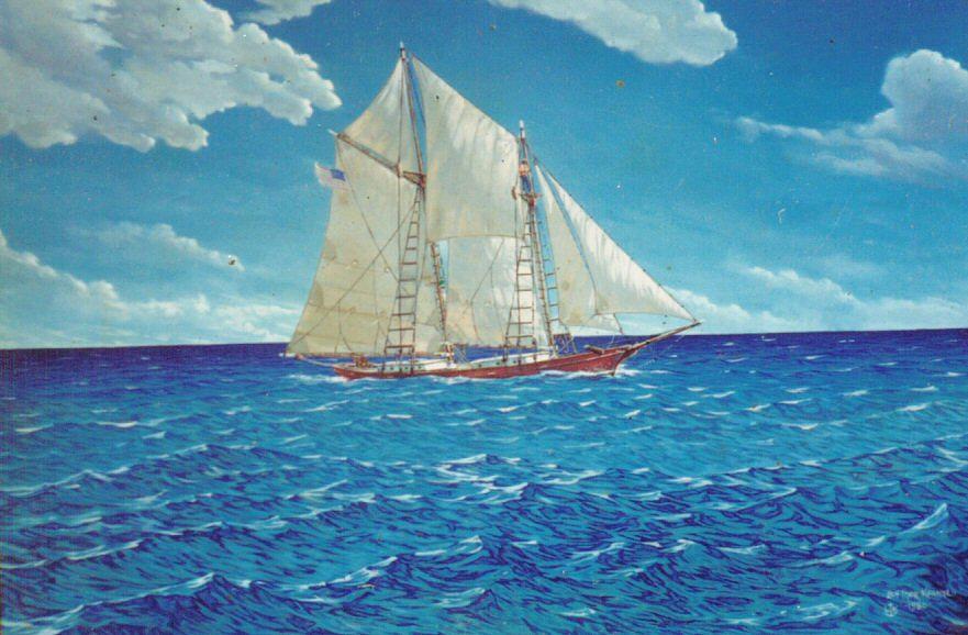Schooner Painting - Reef Runner by Leif Thor Kvammen