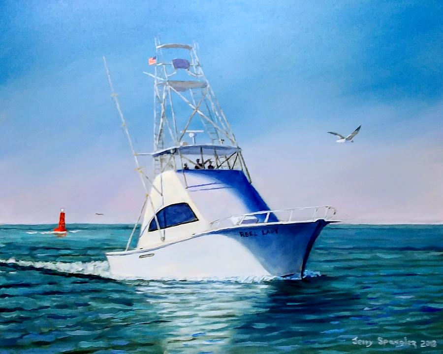 Fishing Boat Painting - Reel Lady by Jerry SPANGLER