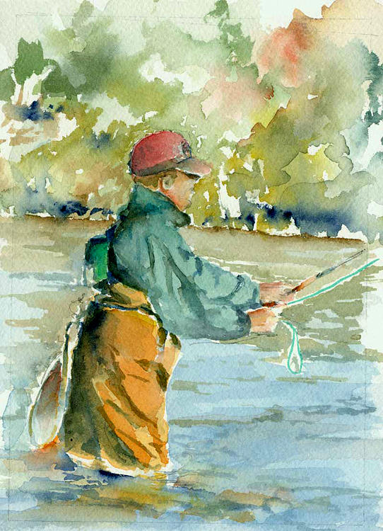 reelin on the Skagit Painting by Ron Bates