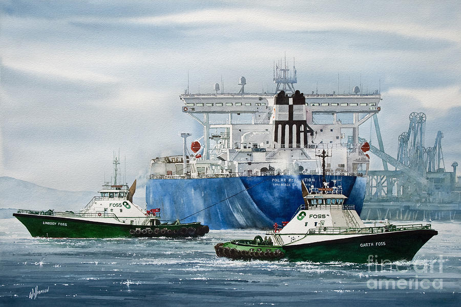 Tugs Painting - Refinery Tanker Escort by James Williamson