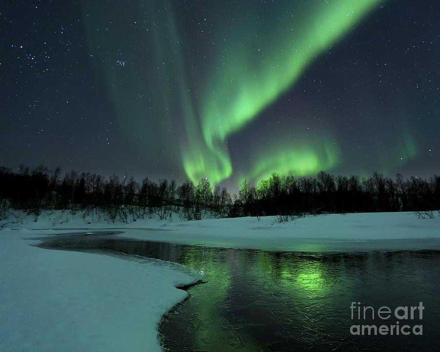 Green Photograph - Reflected Aurora Over A Frozen Laksa by Arild Heitmann