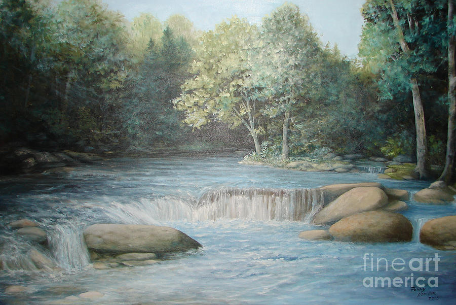 Running Water Painting - Reflected Blue by Penny Neimiller