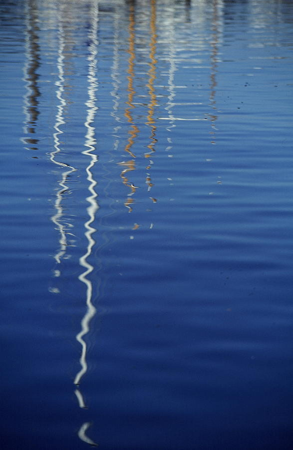 Waterscape Photograph - Reflected Masts by Philip Kollen