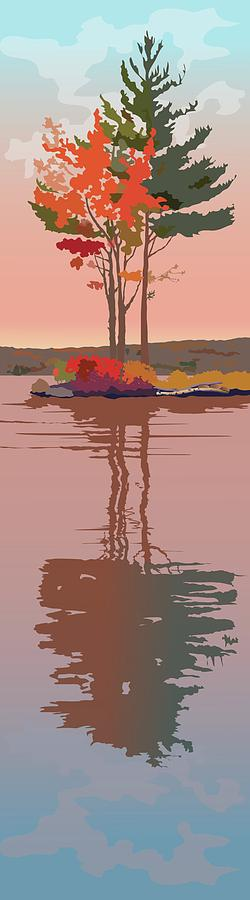 Water Painting - Reflected Trees by Marian Federspiel