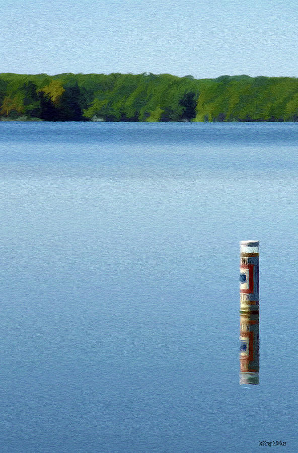 Blue Painting - Reflected Warning by Jeffrey Kolker