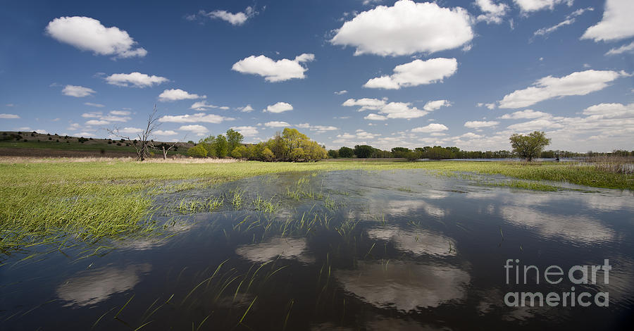 Clouds Photograph - Reflecting Clouds - Jim River Valley by Patrick Ziegler