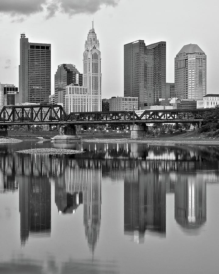 Reflecting Columbus In Black And White Photograph