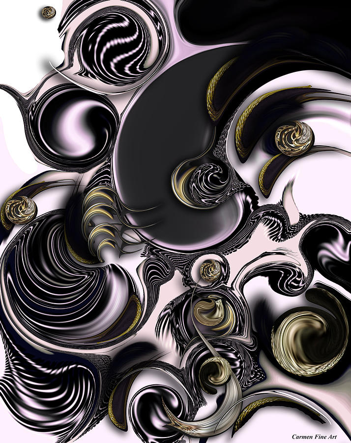 Abstract Pattern Digital Art - Reflecting Creation by Carmen Fine Art