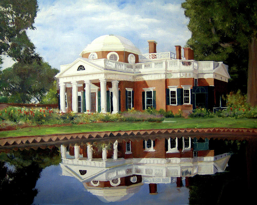 Monticello Painting - Reflecting On Jefferson by J Luis Lozano