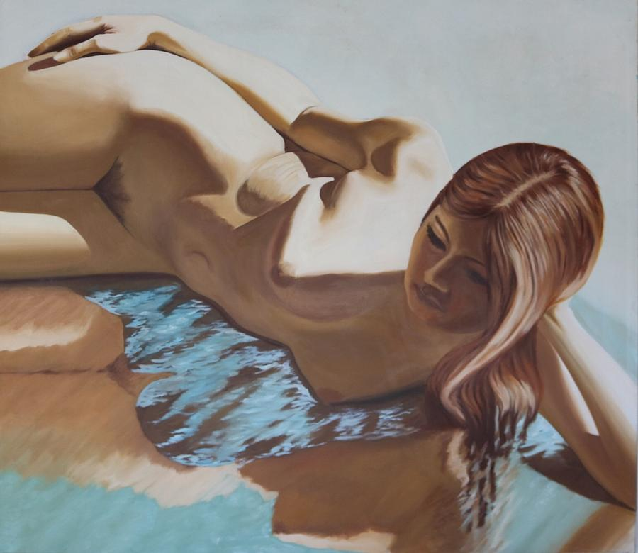 Oil Painting - Nude Muse Reflecting by Allen Kerns