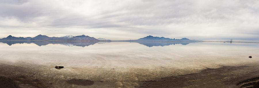 Bonneville Photograph - Reflection At Bonneville Salt Flats by Mark Spomer