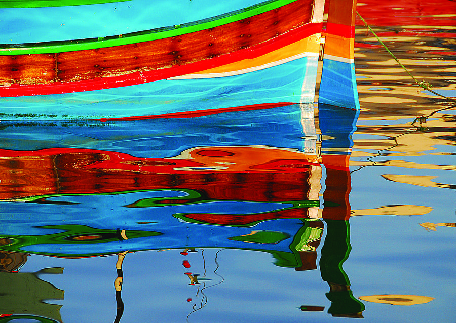 Malta Photograph - Reflection Boats Malta by Barry Culling