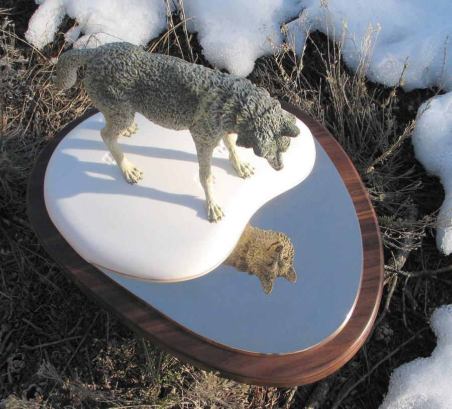 Wolf Sculpture - Reflection by James Roybal