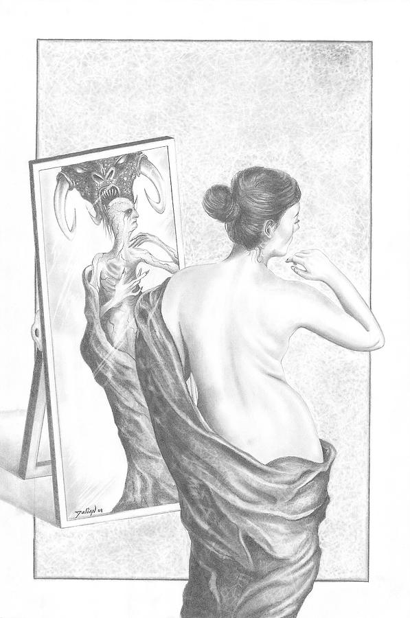 looking in mirror different reflection drawing. mirror drawing - reflection by julian b looking in different