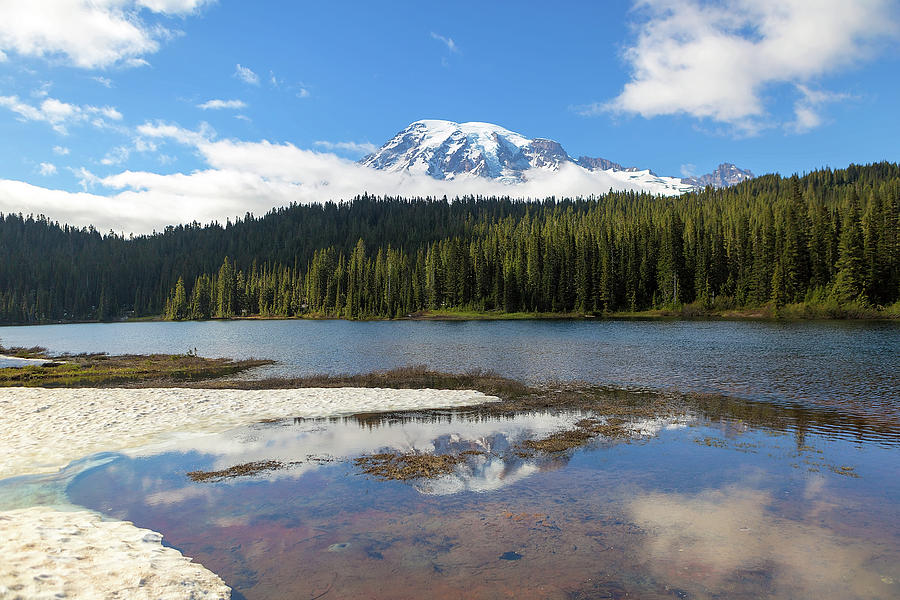 Mount Rainier Photograph - Reflection Lakes in Mount Rainier National Park by David Gn