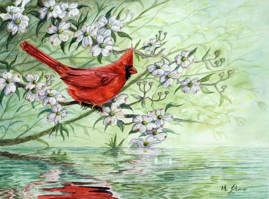 Cardinal Painting - Reflection by Michael Scherer
