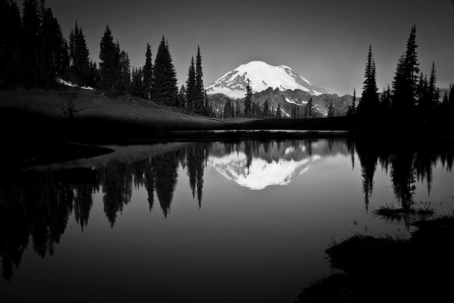 Horizontal Photograph - Reflection Of Mount Rainer In Calm Lake by Bill Hinton Photography