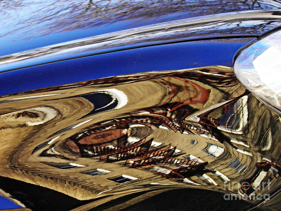 Reflection Photograph - Reflection On A Parked Car 11 by Sarah Loft