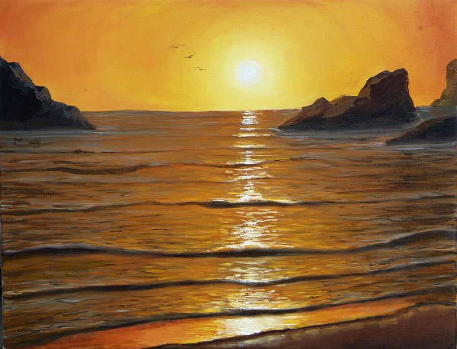 Seascapes Painting - Reflections At Days End by Lorraine Foster