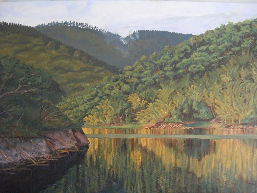 Bamboo Trees Painting - Reflections At The Dam by Anji Worton