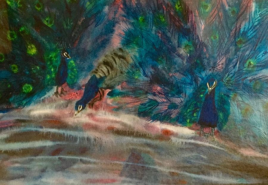Peacocks Painting - Reflections by Diane Sleger