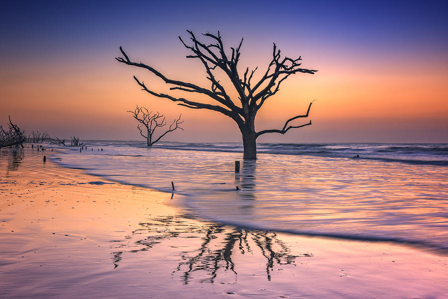 Sunrise Photograph - Reflections Erased - Botany Bay by Rick Berk