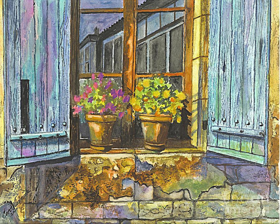 Geraniums Painting - Reflections In A Window by Carol Wisniewski