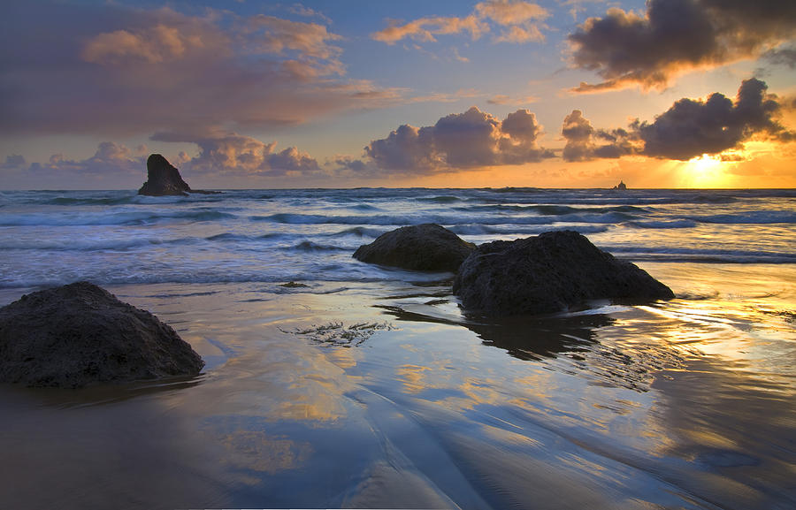 Sunset Photograph - Reflections In The Sand by Mike  Dawson