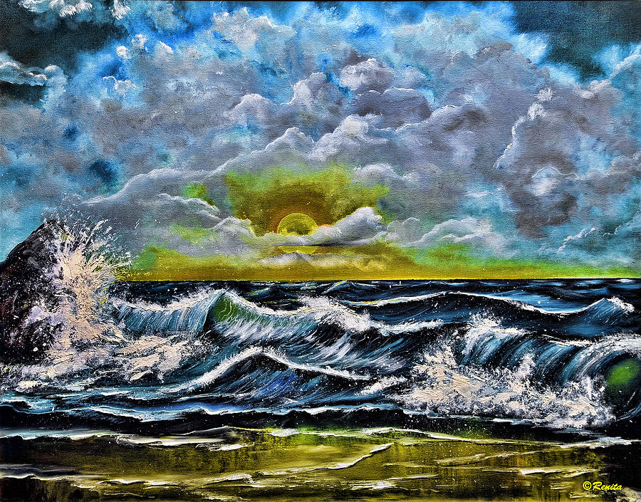 Seascape Painting - Reflections In The Sand by Renita Confer