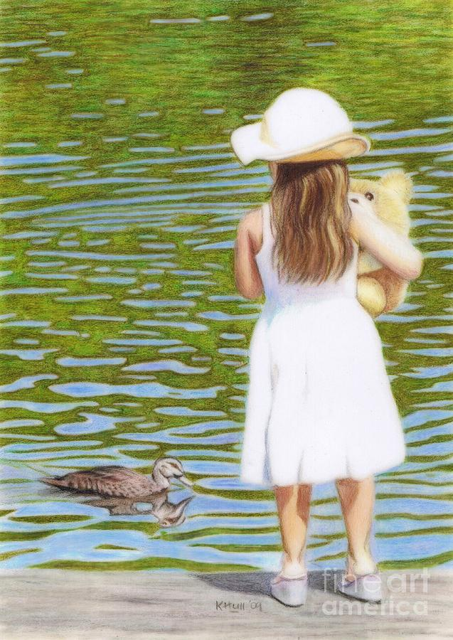 Little Girl Drawing - Reflections by Karen Hull