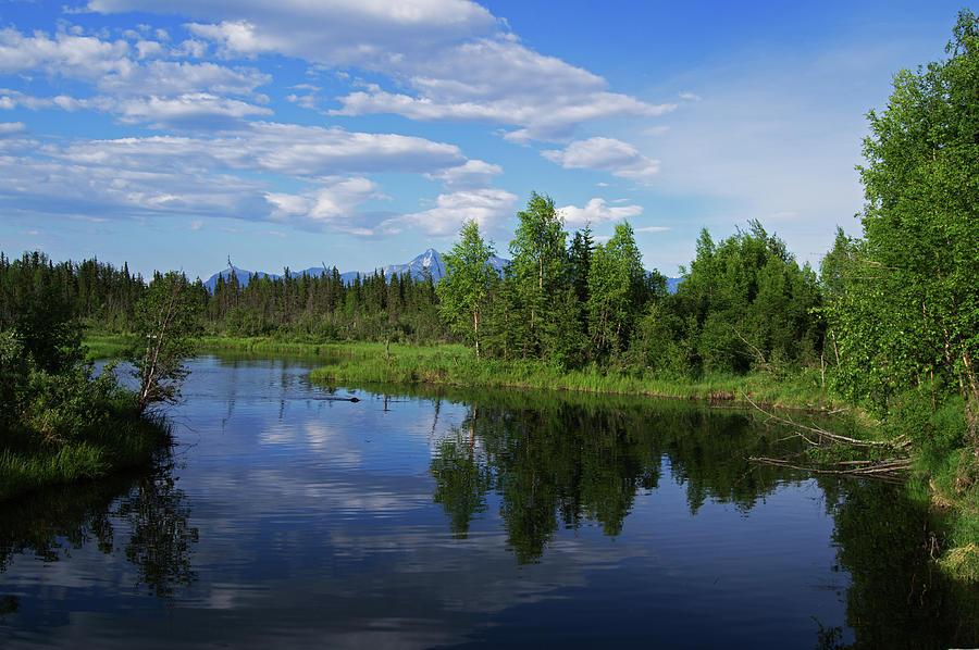 Reflections Photograph - Reflections Lake Pioneer Peak Alaska by Robert Braley