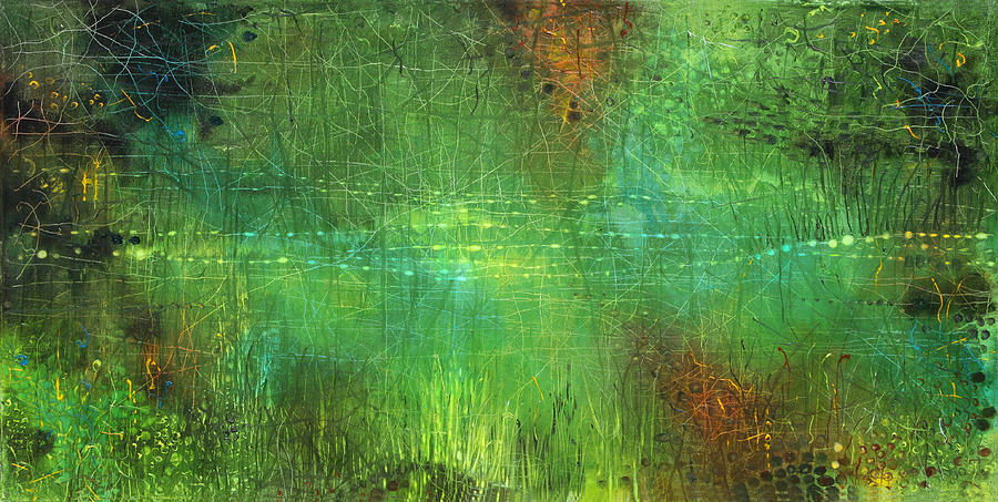 Green Painting - Reflections by Lolita Bronzini