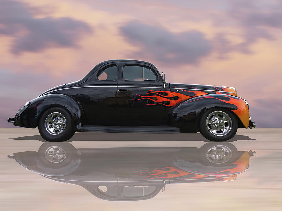 Reflections Of A 1940 Ford Deluxe Hot Rod With Flames Photograph by ...