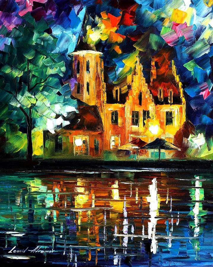 Reflections Of Brussels Palette Knife Oil Painting On