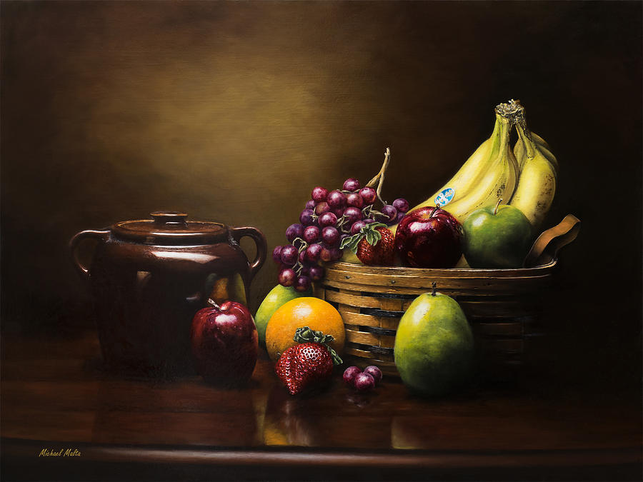 Still Life Painting - Reflections On A Bean Pot by Michael Malta