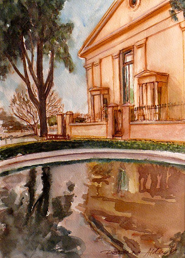 Pond Painting - Reflections On A Rainy Day by Doranne Alden