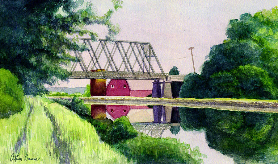Landscape Painting - Reflections on the Erie Canal by Arthur Barnes