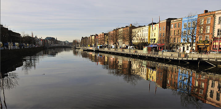 Reflections Photograph - Reflections River Liffey Dublin by Joe Travers